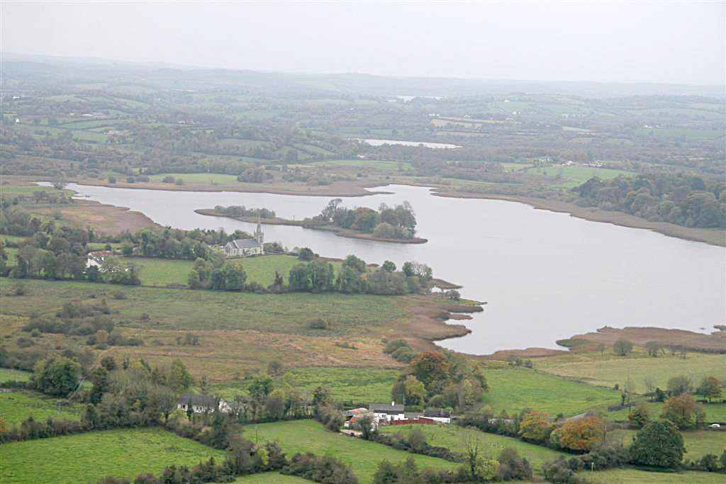 View over Templeport Lake & St Mogue's Island from Slieve Rushen